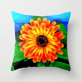 Orange Marigold Throw Pillow