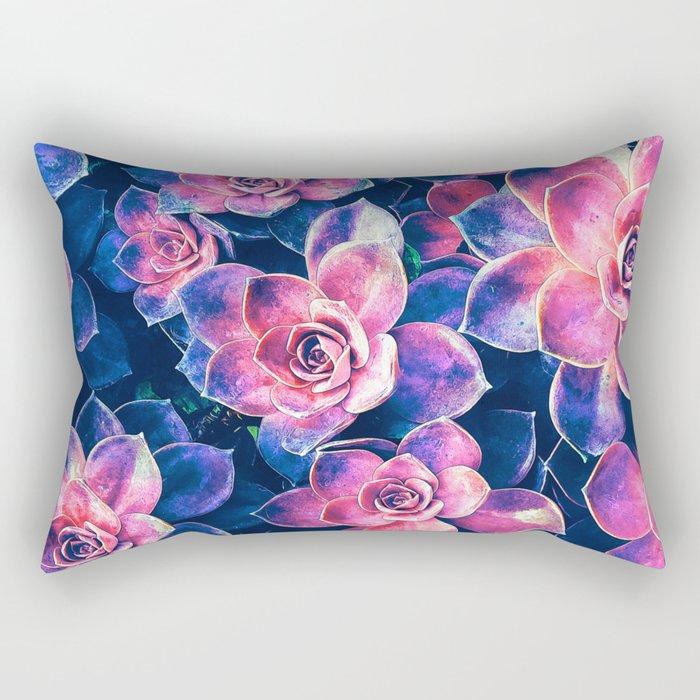 Colorful Succulent Plants Rectangular Pillow