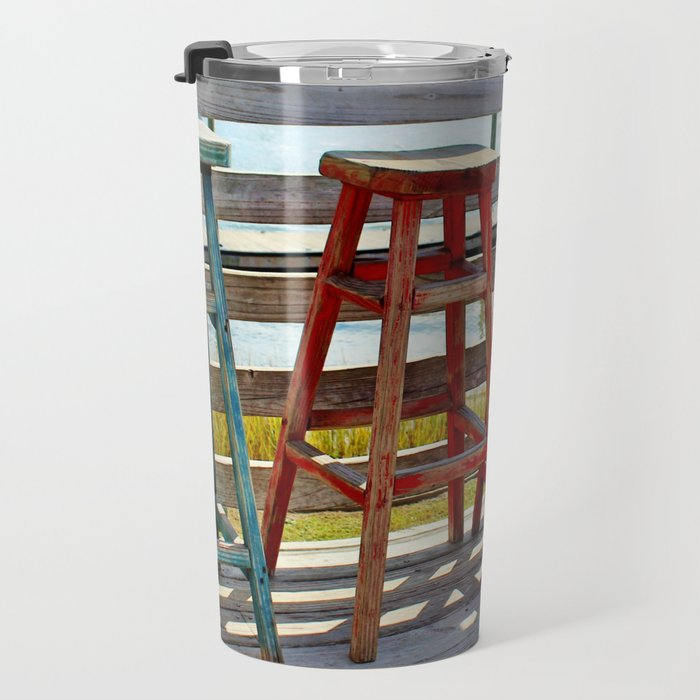 Weathered Bar Stools Travel Mug