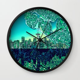 seattle city skyline Wall Clock