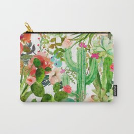 Cactus Floral Collage Carry-All Pouch