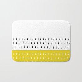 Black & white rain on yellow Bath Mat