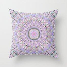 Marbled Pastel Mandala Throw Pillow