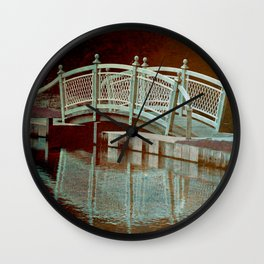 Bridge in a pond Wall Clock