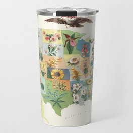 Vintage US State Flower Map (1911) Travel Mug