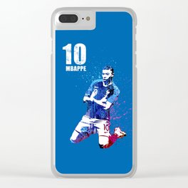 Mbappe art on blue #france Clear iPhone Case