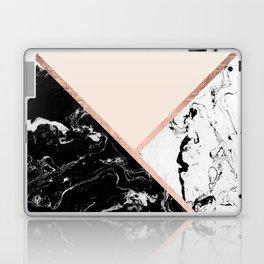 Modern black white marble rose gold color block stripes blush pink Laptop & iPad Skin