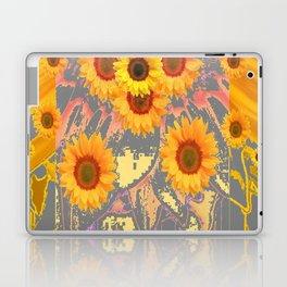 MODERN ART YELLOW SUNFLOWERS  GREY ABSTRACT Laptop & iPad Skin