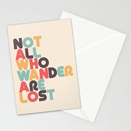 Retro Not All Who Wander Are Lost Typography Stationery Cards