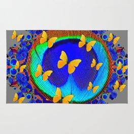 Exotic Fantastic Blue Feather Eye Yellow Butterflies Art Rug