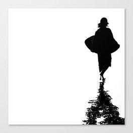 Ocean Beach Skim Black + White Canvas Print