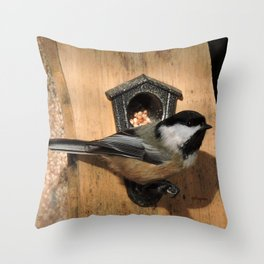 Black-Capped Chickadee at the Feeder Throw Pillow