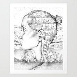 Mind Mansion Mandala for Memory Meditation Art Print