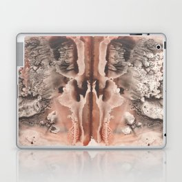 brown Rorschach test, watercolor, monotype, abstract symmetric painting Laptop & iPad Skin
