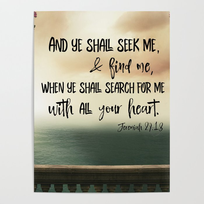 Seek God with your whole Heart KJV Bible Verse Poster by quotelifeshop