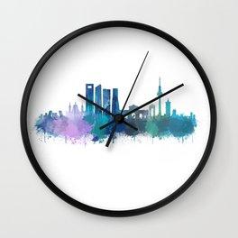 Madrid spain city splattered watercolor skyline v4bb Wall Clock