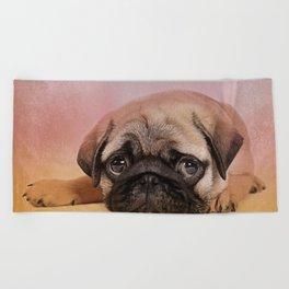 Pug puppy  Digital Art Beach Towel