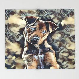 The Blue Eyed Pit bull Puppy Throw Blanket