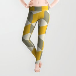 Diamond Repeating Pattern In Yellow Gray and White Leggings