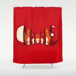 Poketryoshka - Fire Type Shower Curtain