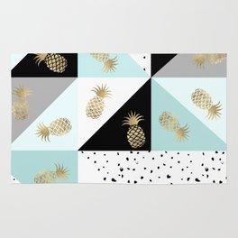 Pastel color block watercolor dots faux gold pineapple Rug