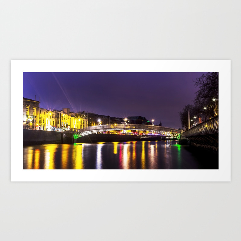 Liffey Bridge Ha'penny Bridge At Night Dublin Irel… Art Print by Alexartphotovideo PRN8634972