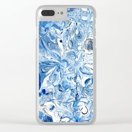 Silver, blue & white abstract flow art Clear iPhone Case