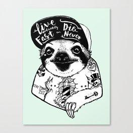 Sloth Tattooed Canvas Print
