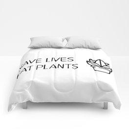 Save lives eat plants Comforters
