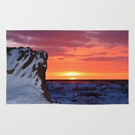 Golden Sunset on Sea and  Snow Rug