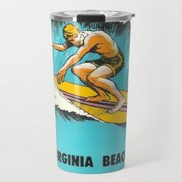 Virginia Beach Retro Vintage Surfer Travel Mug