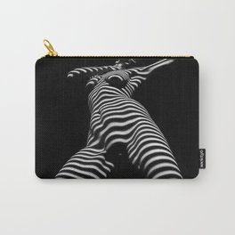 7068s-KMA Black White Nude Abstract Woman on Her Knees Zebra Styriped Carry-All Pouch