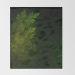 Beautiful Fractal Pines in the Misty Spring Night Throw Blanket
