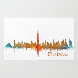 Dubai, emirates, City Cityscape Skyline watercolor art v2 Rug