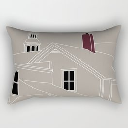 Cityscape Urban Illustration in Warm Grey Rectangular Pillow