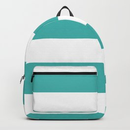 Wide Horizontal Stripes - White and Verdigris Backpack