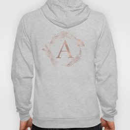Letter A Rose Gold Pink Initial Monogram Hoody