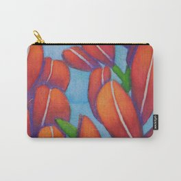 Botanical Painting with Reds and Blues Carry-All Pouch