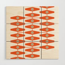 abstract eyes pattern orange tan Wood Wall Art
