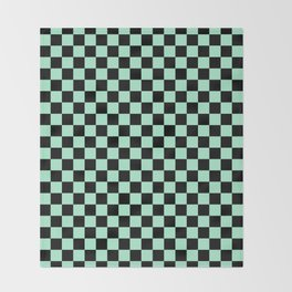 Black and Magic Mint Green Checkerboard Throw Blanket