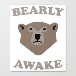 Bearly Awake Cute Vector Bear Graphic Canvas Print