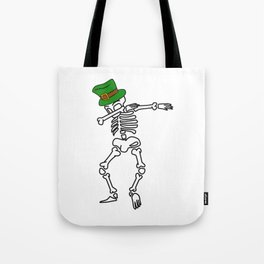 Dabbing St Patrick_s Day Skeleton Leprechaun Tote Bag