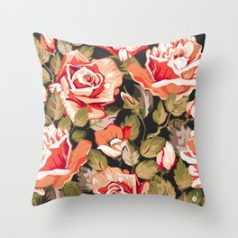 Red flowers pattern Throw Pillow