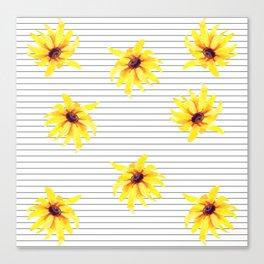 Yellow Daises on Minimal Black and White Stripes Canvas Print