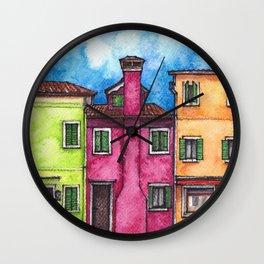 Burano ink & watercolor illustration Wall Clock