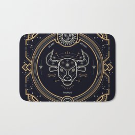 Taurus Zodiac Gold White Black Background Bath Mat
