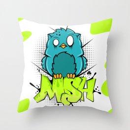 Zombie owl graffiti Throw Pillow
