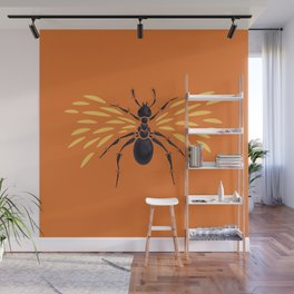 Winged Ant Fiery Orange Wall Mural