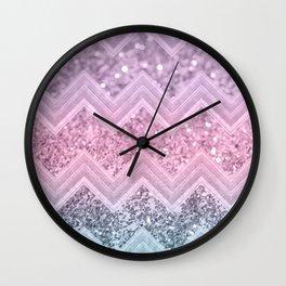 Unicorn Glitter Chevron #1 #pastel #shiny #decor #art #society6 Wall Clock