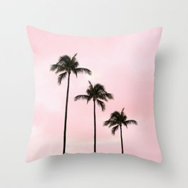 Palm Tree Photography Peach | Blush Pink | Millennial Pink | Miami Throw Pillow